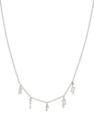 Zoe Lev Jewelry Personalized Gothic Initial Charm Necklace in 14K White Gold