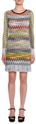 Missoni Long-Sleeve Multi-stripe Fringe-Hem Mini Dress