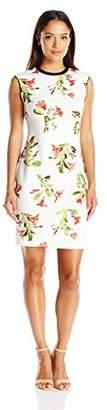 Lark & Ro Women's Petite Sleeveless Printed Scuba Sheath Dress
