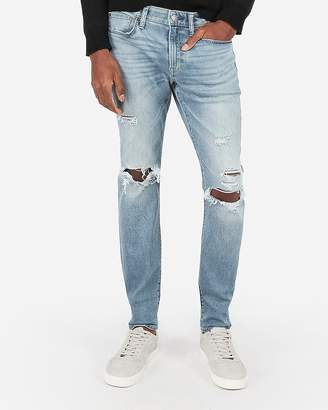 Express Slim Ripped Light Wash Stretch Jeans