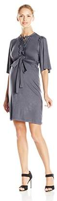 Everly Grey Women's Maternity Lindsey Short Sleeve Button Front Shirt Dress