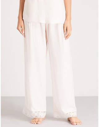 Hanro Liane lace-trimmed satin pyjama bottoms