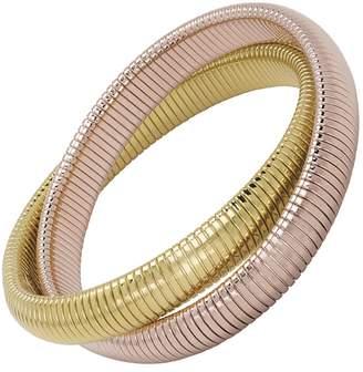 Janis Savitt High Polished Gold and Rose Gold Double Cobra Bracelet