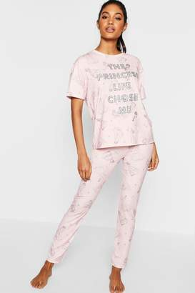 boohoo Disney Princess Glitter PJ Set