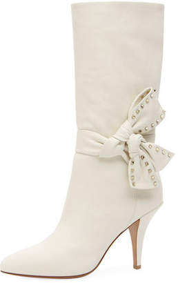 Valentino Mid-Calf Leather Booties with Side Bow