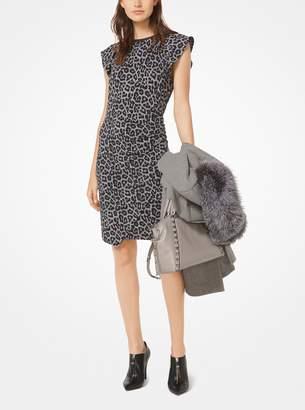 MICHAEL Michael Kors Leopard and Plaid Matte-Jersey Dress