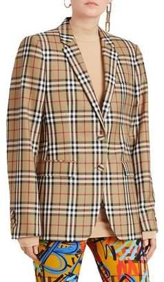 Burberry Snowdon Check Wool Two-Button Blazer