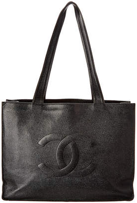 Chanel Black Caviar Leather Xl Cc Shopping Tote
