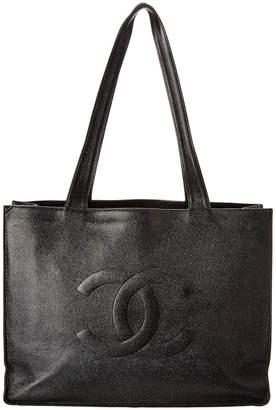 Chanel Black Caviar Leather Xl Cc Shopping Tote