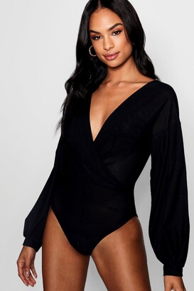 boohoo Tall Melissa Wrap Front Bodysuit