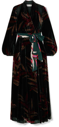 Diane von Furstenberg Cutout Printed Velvet Wrap Maxi Dress - Emerald