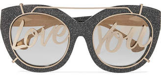 Alice + Olivia Alice Olivia - Walker Cat-eye Glittered Acetate And Gold-tone Sunglasses - Charcoal