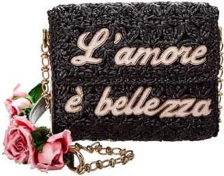 Dolce & Gabbana Millennials Raffia Small Leather Crossbody