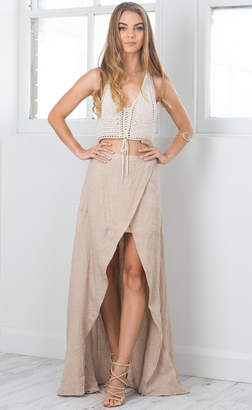 Showpo Coming Together Maxi Skirt in Beige