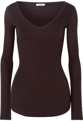 James Perse Ribbed Cotton-jersey Top - Purple