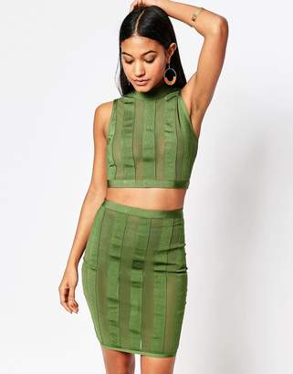 Wow Couture Stripe Crop And Skirt Set