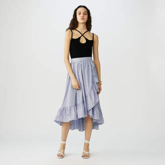 Maje Long striped skirt with ruffles