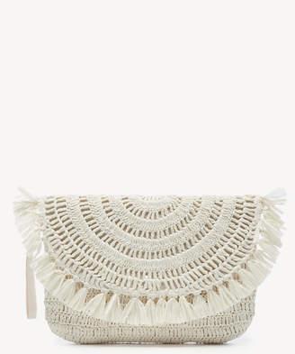 Sole Society Women's Jakia Clutch Raffia With Tassels Ivory From