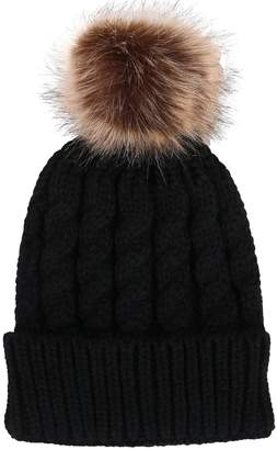 ef6a6e5b284 Younglove Women Winter Cable Knit Faux Fur Pom Pom Foldable Cuff Beanie