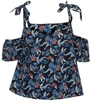 Soul Cal SoulCal Womens AOP Bardot Top Tank Vest Short Sleeve V Neck Loose Fit Pattern