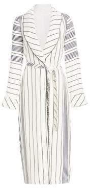 Jonathan Simkhai Multi-Striped Shawl Collar Robe Jacket