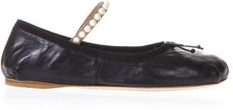 Miu Miu Lambskin Ballet Laces Shoes With Pearls