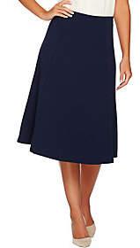 Dennis Basso Caviar Crepe Gored Flared Skirt