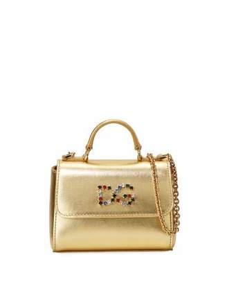 Dolce & Gabbana Girls' Metallic Leather Top-Handle Shoulder Bag