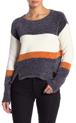 Leighton Striped Hi-Lo Hem Chenille Sweater