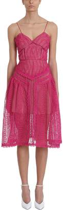 Self-Portrait Self Portrait Fuchsia Spiral Lace Panel Dress