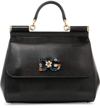Dolce & Gabbana Sicily Medium Embellished Lizard-effect Leather Tote - Black