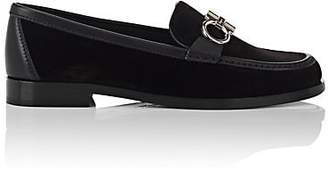 Salvatore Ferragamo Women's Bit-Embellished Velvet Loafers - Black
