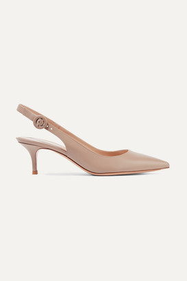 Gianvito Rossi Anna 55 Leather Slingback Pumps - Sand