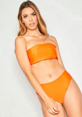 10382f1f9fc9d Missy Empire Missyempire Andrea Orange Ruched Bandeau Bikini
