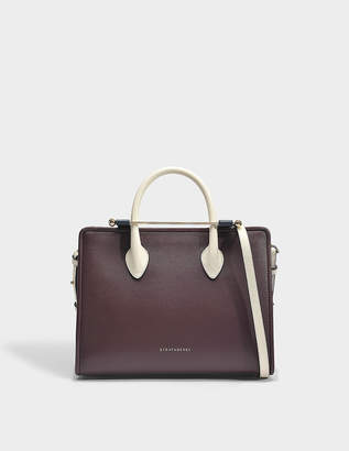 The Strathberry Midi Tote Bag in Burgundy, Navy and Vanilla Calfskin