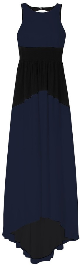 Tibi Color Block Silk Long Dress
