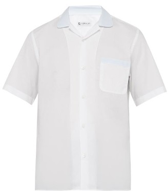 Cobra S.C. Cobra S.c. - Contrast Collar Cotton Poplin Bowling Shirt - Mens - White