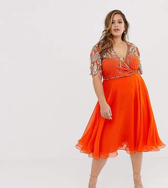 a7457198b87 Virgos Lounge Plus embellished wrap front midi skater dress in orange