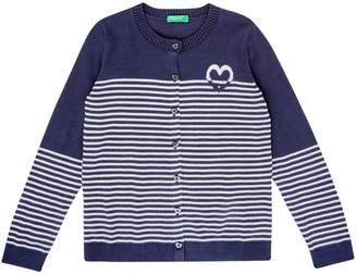 Benetton Girls Stripe Knitted Heart Cardigan