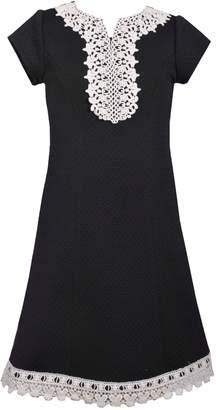Bonnie Jean Girls 7-16 Knit Venise Yoke Shift Dress