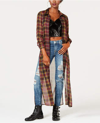 GUESS Plaid Slit-Side Tunic Shirt