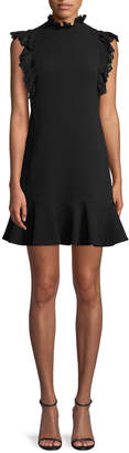 Rebecca Taylor Sleeveless Moss Crepe A-Line Short Dress w/ Lace Trim