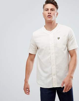 Lyle & Scott baseball collar short sleeve shirt in white