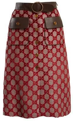 Gucci Logo Jacquard A Line Skirt - Womens - Burgundy Multi