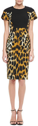 Rachel Roy Leopard-Print Short-Sleeve Sheath Dress