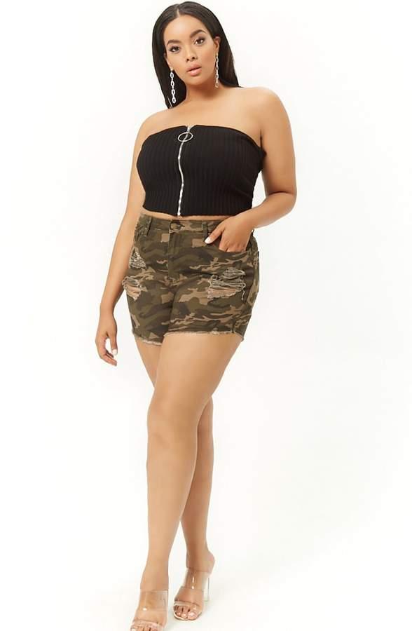 Plus Size Distressed Denim Camo Shorts