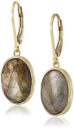 Gold-Plated Sterling Silver and Labradorite Dangle Earrings