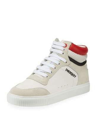 Burberry Mini Reeth Suede & Leather High-Top Sneaker, Toddler/Kids