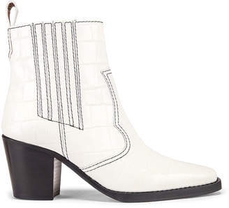 Ganni Western Boot in Bright White | FWRD