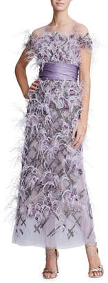 Marchesa Short-Sleeve Feather-Trim Tulle Illusion Long Dress